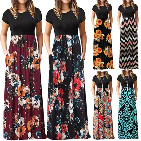 The Noble Collection Women Summer Ethnic Print Beach Party Maxi Bodycon Dress Short Sleeve Plus Size ()