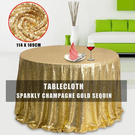 Champagne Gold Glitter Sparkly Sequin Fabric Tablecloth Tablecovers For Wedding/Event/Party/Banquet Photography Backdrop 50''X45'' (Gold Glitter Table Cloth)