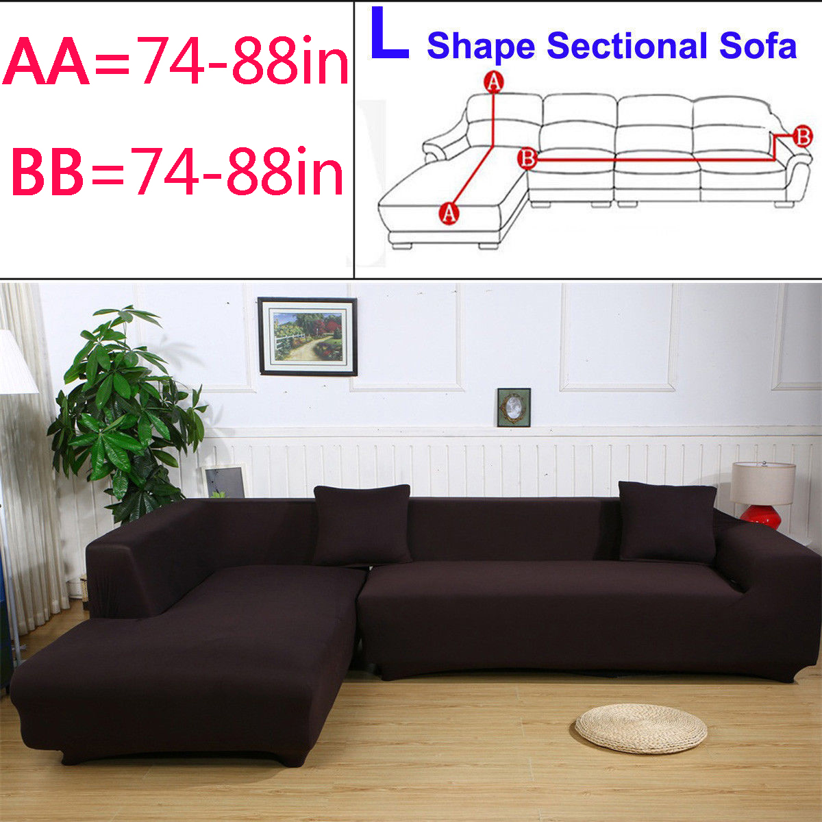 Elastic Sofa Cover 2pcs 3 Seat 3 Seat L Shape Stretch Sofa