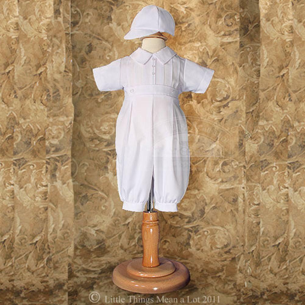Baby Boys Size 0-12M White Gabardine Christening Baptism Outfit Set