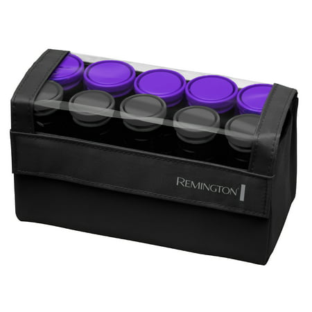 Style Pillow Soft Rollers - Remington Compact Worldwide Voltage Ceramic Hot Rollers, Hair Rollers, Hair Setters, 1-1 ¼ Inch, Black/Purple, H1016