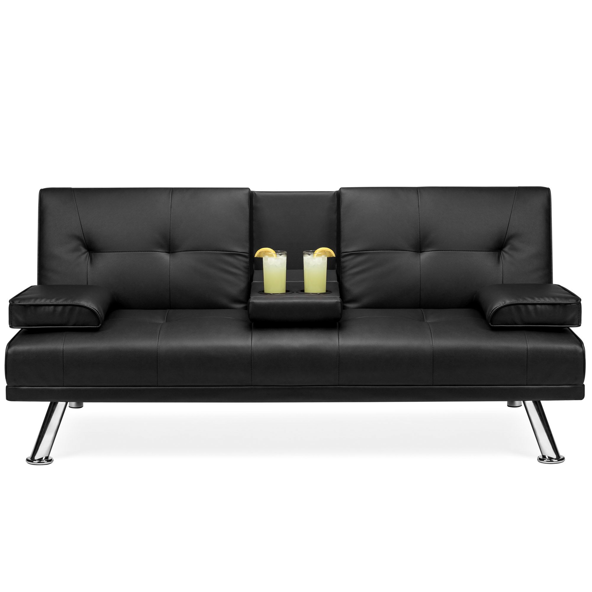 Best Choice Products Modern Faux Leather Convertible Futon Sofa W Removable Armrests Metal Legs 2 Cupholders Black Walmart Com Walmart Com