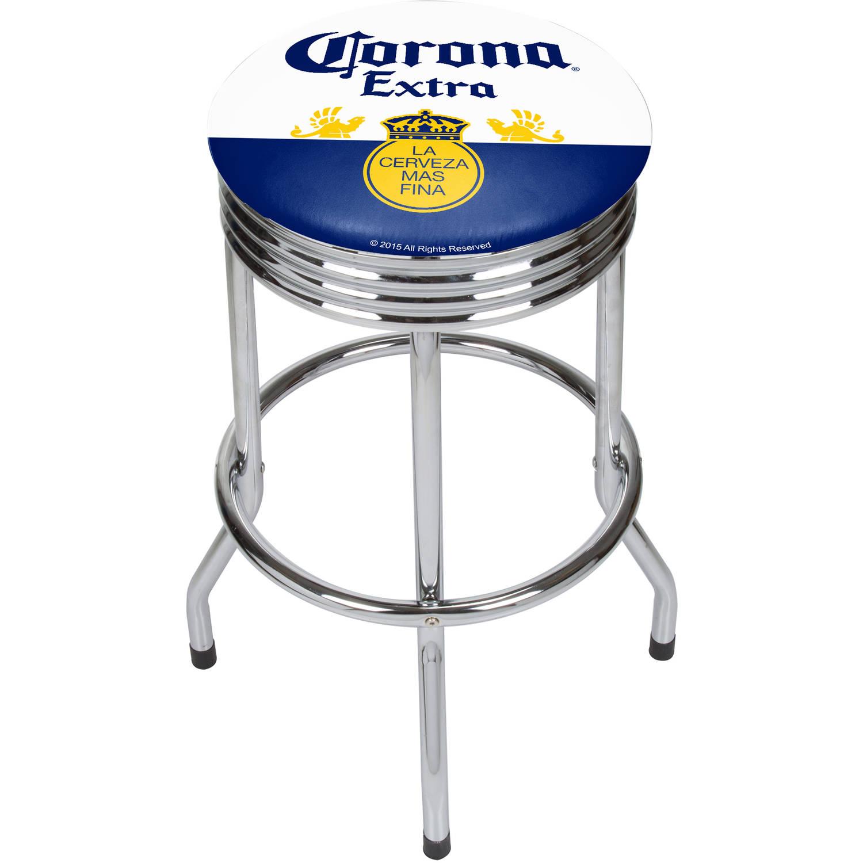 Corona Chrome Ribbed Bar Stool, Label