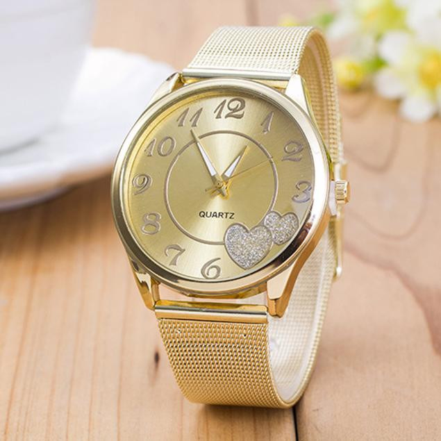 DZT1968 Women Ladies Watch Gold Mesh Band Wristwatch Gold