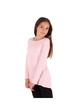 Lori&Jane Girls Baby Pink Solid Color Hi-Low Long Sleeved Trendy T-Shirt