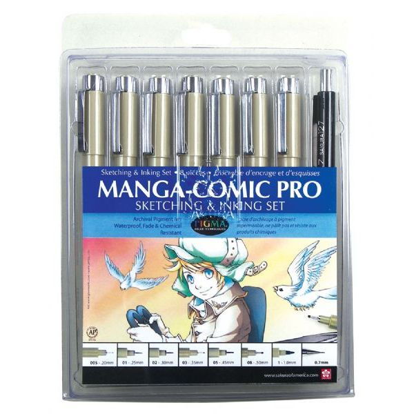 (Price/ST)Sakura 50203 Manga-Comic Pro Sketching and Inking 8-Piece Set