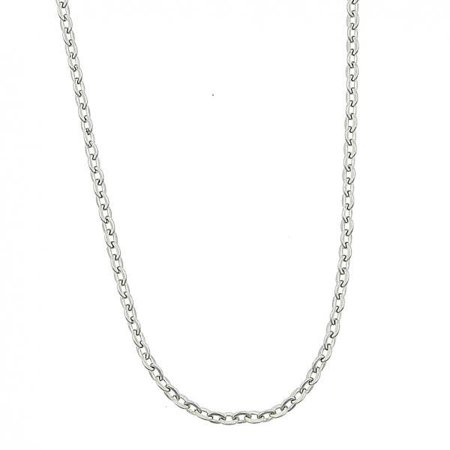 Folk Jewelry - Sassy Stainless Steel Rhodium Rolo Link Chain Necklace For Women By Folks Jewelry