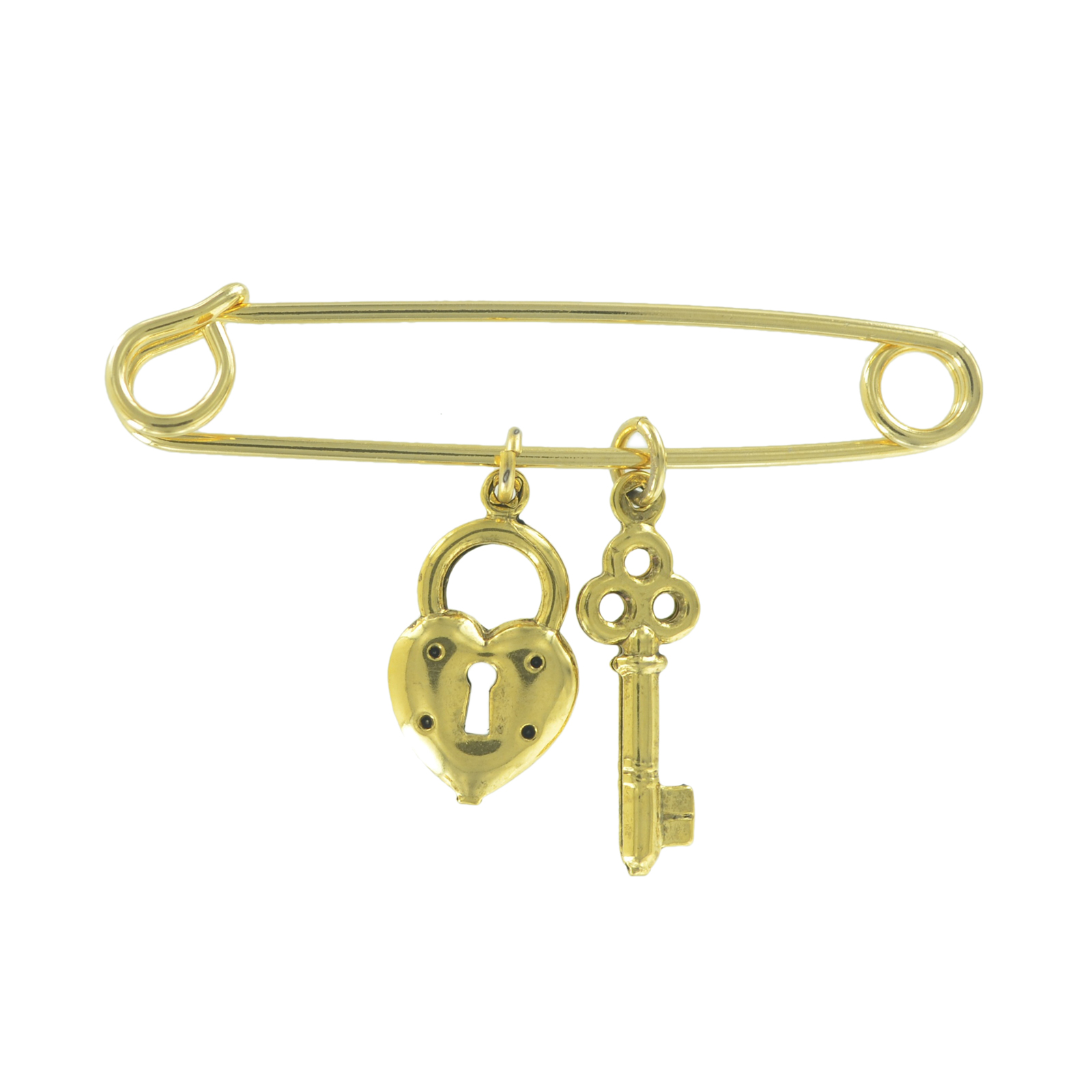 """Safety Pin Brooch 2"""" Gold Tone Small Heart Key Charm Dangle Middle by Ky & Co"""