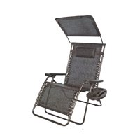 """PerfectPatio XXL 33"""" DELUXE Gravity Free Recliner w/ Canopy & Tray - Brown Jacquard"""