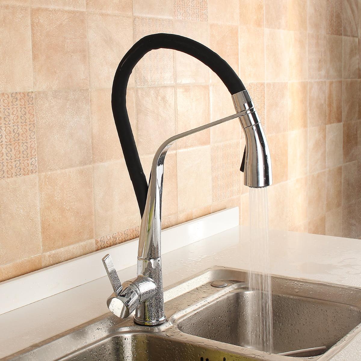 Single Handle Kitchen Faucet Pull Out Sprayer Swivel Sink Mixer Matt black