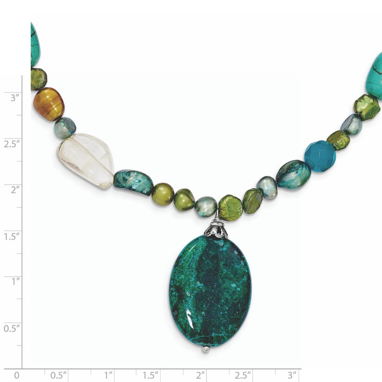Natural Chrysocolla Solid 925 Sterling Silver Pendant Necklace Gift Jewelry