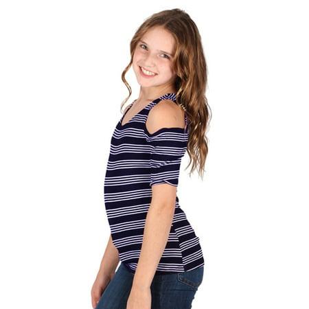 Lori & Jane Girls Navy White Striped Short Sleeve Cold Shoulder Top