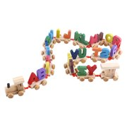 WALFRONT Fashionable Colorful Wooden Letters Train Educational Alphabetical Assemble Toy Set Plaything, Wooden Toy Train, Kids Train Toy