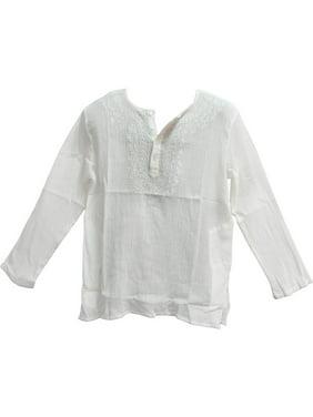 b67ae4889 Product Image Mens Indian White Bohemian Crinkled Gauze Cotton Embroidered  Tunic Shirt Kurta - Large. Product TitleAmbey CraftMens ...