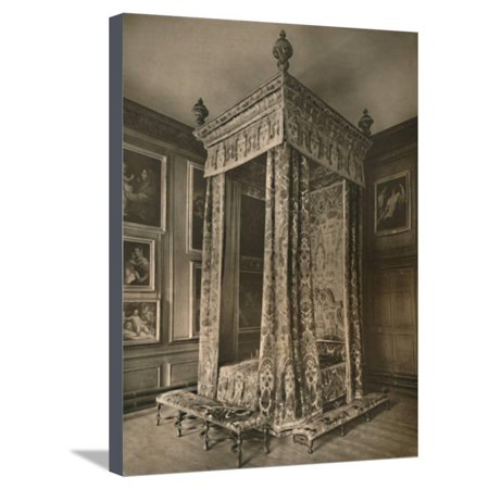 'Queen Anne's State Bedstead in Crimson and Gold Figured Velvet', 1927 Stretched Canvas Print Wall Art By Edward F Strange