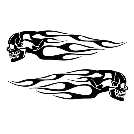 Pair Universal Motorcycle Decal Gas Oil Tank Flames Skull Badge (Skull Universal Tank Protector)
