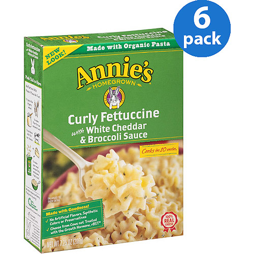 Annie's Homegrown Curly Fettuccine with White Cheddar & Broccoli Sauce, 7.25 oz, Pack of 6