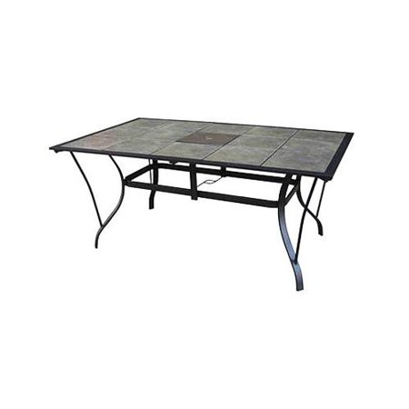 Courtyard Creations Tcs64ps Madison Patio Collection Dining Table Gray Slate Tile Top Taupe