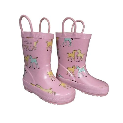 Pink Pony Toddler Girls Rain Boots 10