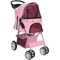 Paws & Pals Pet Stroller Cat/Dog Easy Walk Folding Travel 4-wheel Carriage, 2019 Design