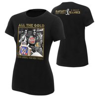 """Official WWE Authentic Bayley & Sasha Banks """"All The Gold"""" Women's  T-Shirt Black Small"""
