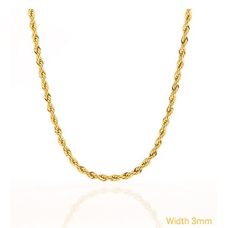 24k Layered (Rope Chain 3MM Fashion Jewelry Necklaces Made of Real 24K Gold on Semi-Precious Metals, Thick Layers Make it Tarnish Resistant, - 20