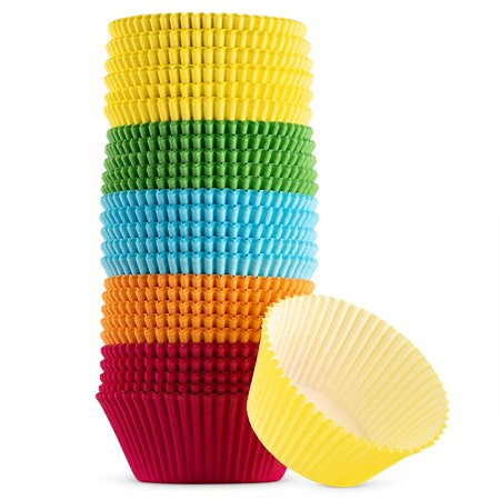 Green Direct Cupcake Liners - Standard Size Cupcake Wrappers to use for Pans or carrier or on stand - Multi bright Colors [Blue - Red - Yellow - Green - Orange] Paper Baking Cups Pack of