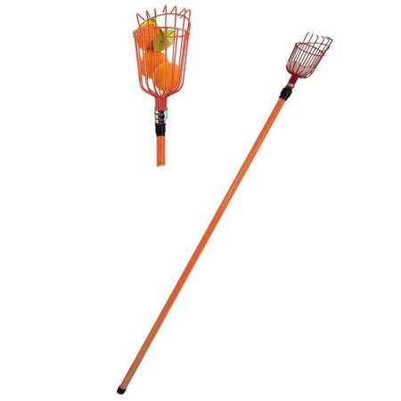 (Professional Metal Fruit Picker with Long Telescoping 8ft Pole & Fruit Catcher - Reach Fruit up to 15ft without a ladder)
