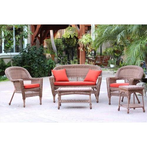 Jeco W00205-G-OT-FS018 5 Piece Honey Wicker Conversation Set - Red Orange Cushions
