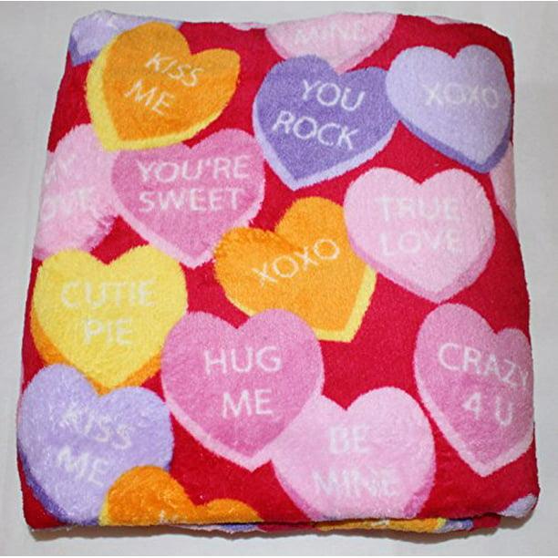Morgan Home Valentine S Day Themed Velvet Plush Throw Blanket 50 Inch X 60 Inch Conversation Hearts Walmart Com Walmart Com