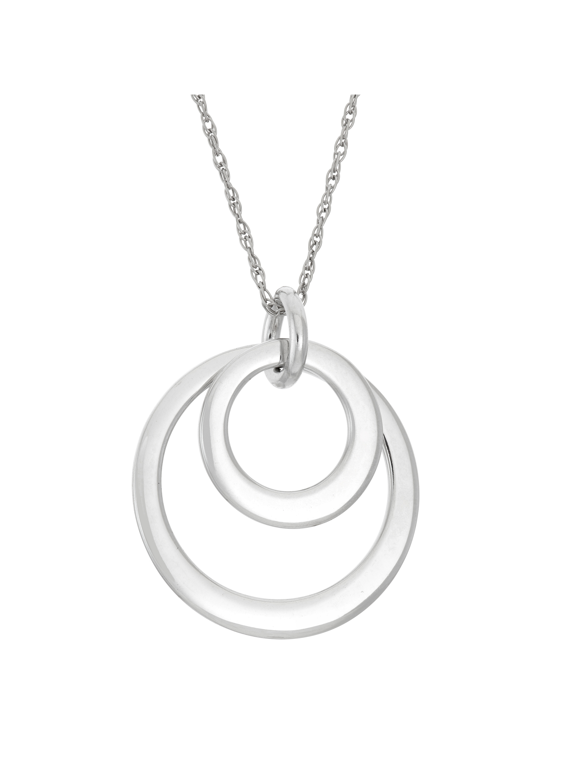 Sterling Silver Double Graduated Circle Pendant 18