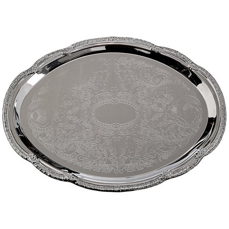 CMT-1014 0.5mm Oval Tray, 14-Inch by 10-Inch, Chrome, The classic gadroon edge and traditional engraving make our chrome-plated trays attractive yet affordable By - Tray Gadroon Border