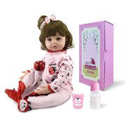 "24"" Baby Doll and Accessories, Non-toxic Newborn Silicone Vinyl Reborn Baby Dolls, Kid Role Play Toy Doll with Clothe, Dolls for Girls, for Children 12 Months and Older, Birthday/Christmas Gift, W4645"