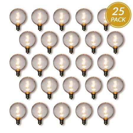 Fantado 25-Pack Warm White .5-Watt LED G40 Globe Light Bulb, Shatterproof, E12 Candelabra Base