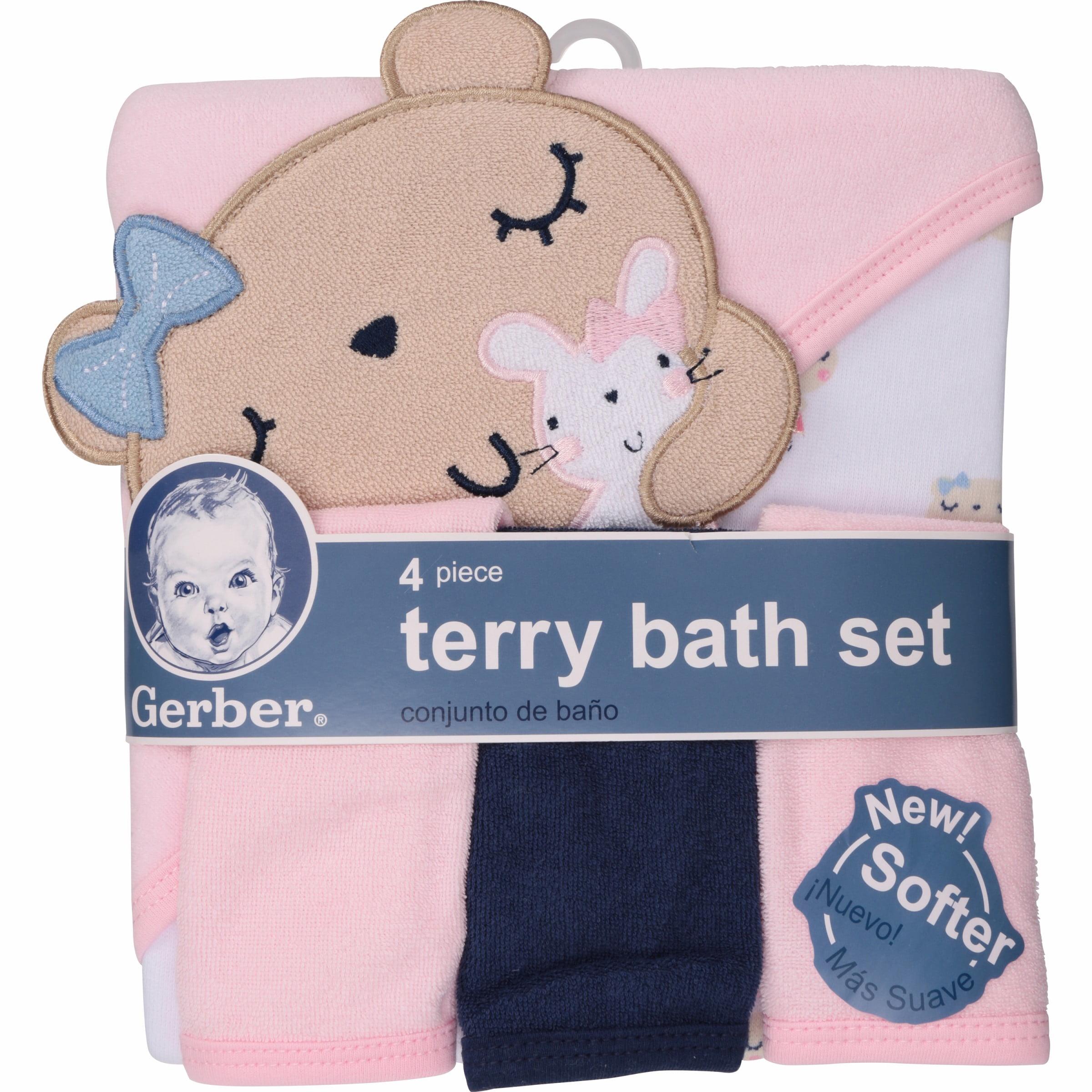 Newborn Baby Girl Towel and Washcloths Bath Gift Set, 4-Piece