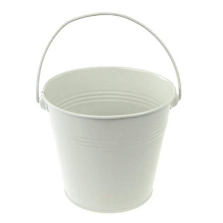 Metal Pail Buckets Party Favor, 5-inch, White - Bucket Pail