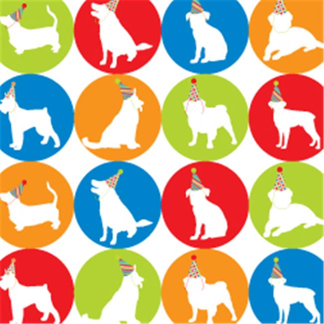 Pet Party Printz BIR00200 Dog Party Silhouettes Gift Wrap - Pack of 4 Rolls