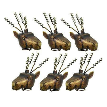 Set of 6 Metal Deer Head Corkscrew Wine Bottle Topper Cork Displays