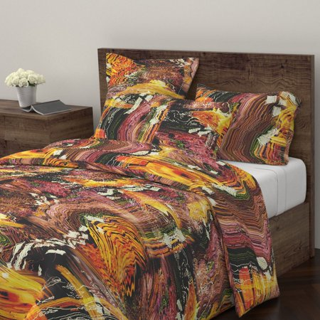 Fire Twisted Distorted Waves Smoke Squiggles Sateen Duvet Cover by Roostery ()