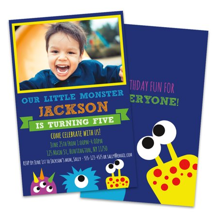 Personalized Little Monster Photo Kids Birthday Party Invitations