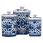 10 Strawberry Street Chinoiserie 3 Piece Porcelain Canister Set White Blue