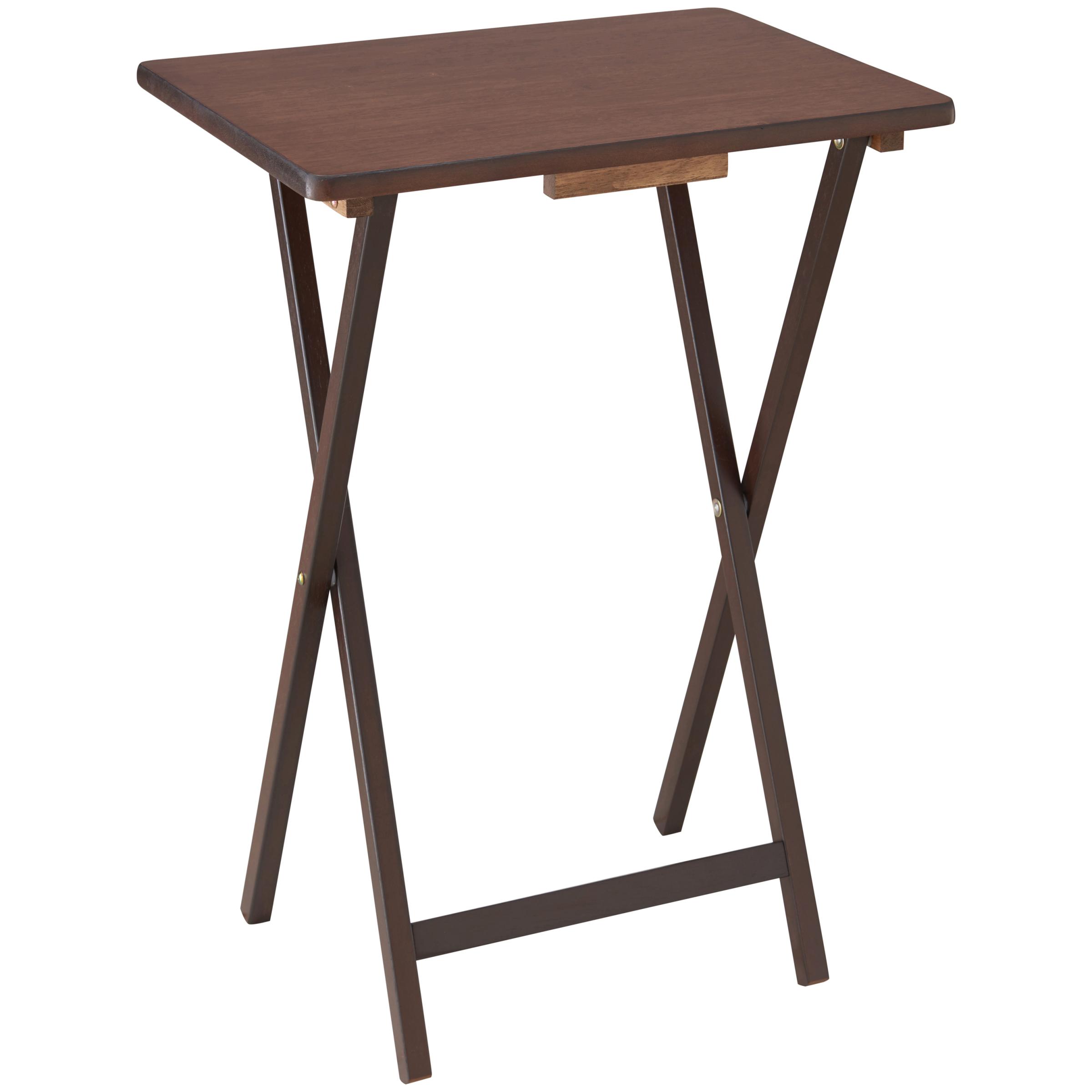 """Mainstays 19"""" Folding Tray Table, Walnut"""