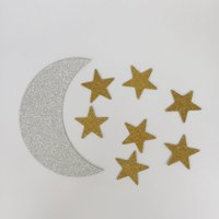 Double Sided Silver Crescent Moon and Gold Star Twinkle Twinkle Little Star Party Decoration DIY Shaped Baby Shower or Birthday Party Pack of 48