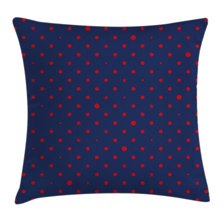- Navy Throw Pillow Cushion Cover, Polka Dots Star Figures Background Artsy Retro Style Little Circles Illustration, Decorative Square Accent Pillow Case, 18 X 18 Inches, Dark Blue Red, by Ambesonne