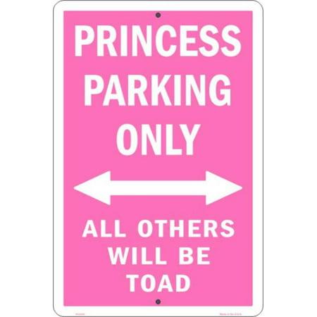 Princess Parking Only Tin Sign - (12x18 Parking Control)
