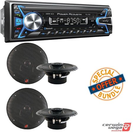 Power Acoustik PL-51B 1-DIN Digital Audio Head Unit With 32GB USB/SD/AUX/Bluetooth 2 PAIRS of XED Series 6.5 Inch 2-Way Coaxial Car