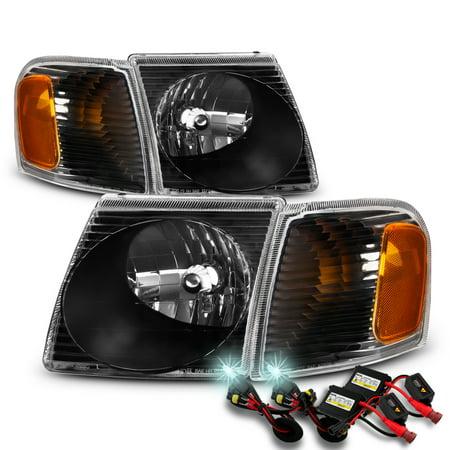 For 01-05 Ford Explorer Sport Trac Black Headlight+Corner Signal Lamp+8000K HID