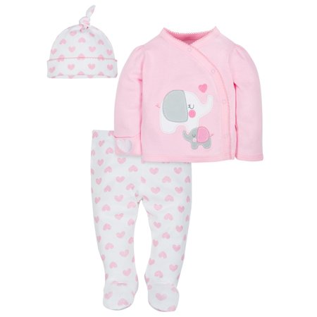 Gerber Organic Cotton Take-Me-Home Set, 3-piece (Baby Girls) (Boutique Toddler Girl Clothes)