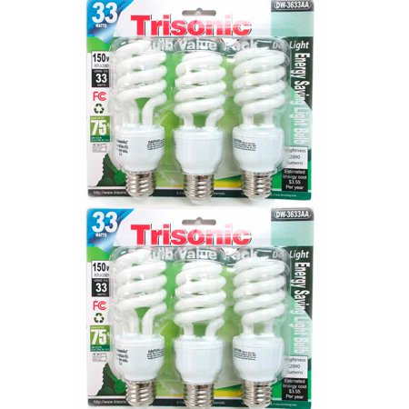 6 PC Daylight Bulb Light 33 W Energy 150 Watt Output White Compact Fluorescent Pc White Hid Floodlight