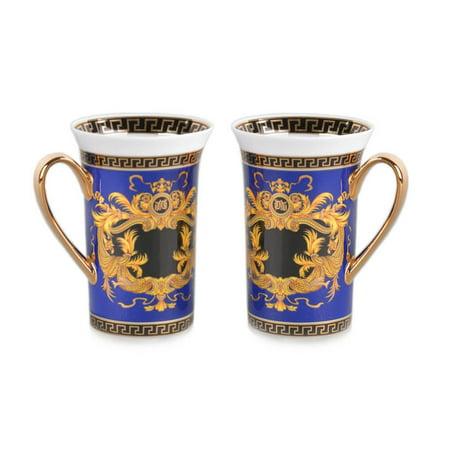 Royalty Porcelain 2-pc Blue Coffee or Tea Cup Mug, Medusa Greek Key, 12 oz